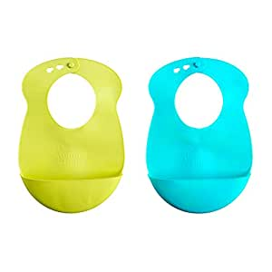 Tommee Tippee Explora Easi Roll Bib, Blue and Green 2 Count 7m+ (Color may vary)