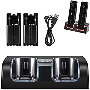 NIFERY Wii Charging Dock Station, Wii Remote Charger Stand with 2 Rechargeable Battery & Charging Cord (Black)