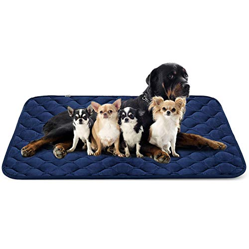 Hero Dog Large Dog Bed Mat 55 Inch Crate Pad Anti Slip Mattress Washable for Pets Sleeping (Blue XXL)