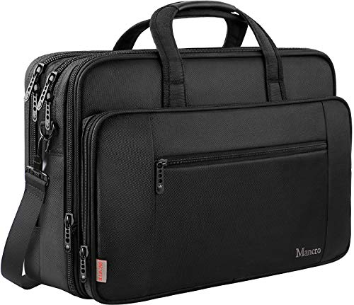 17 Inch Laptop Briefcase for Men Women,Soft Business Bag,Big Computer Shoulder Bag, Expandable Carry on Case,Waterproof,Mancro Office Bag Fits 17 15.6 Inch Laptop,Tab