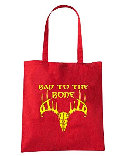 T-Shirtshock - Bolsa para la compra FUN0681 bad to the bone vinyl hunting car decal 04583 Rojo