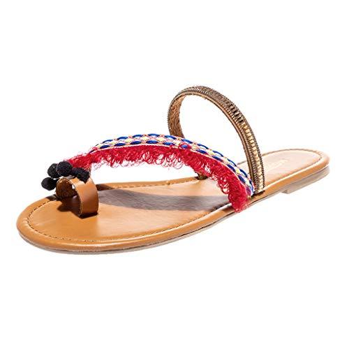Pandaie Womens ... Sandals Women's Ladies Spring Summer Ethnic Flat Heel Slippers Beach Sandals Roman Shoes Brown