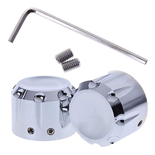 Axle Bolt Covers - SEAyaho 1 Pair Motorcycle Front Axle Nut Cover Bolt Kit for Harley Davidson - Silver 29mm