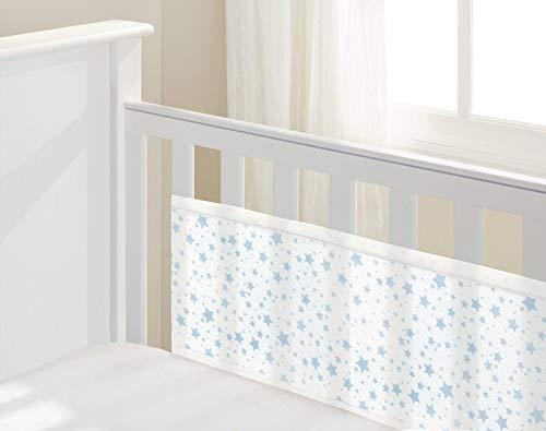 twinkle twinkle blau Sterne Atmungsaktiv Baby 2-seitige Kinderbett Mesh Liner