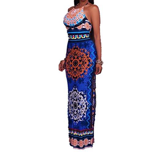 Drawstring Sleeveless Halter Dress (LHAOJQL Women Fashion Long Dress Ethnic Halter Neck Sleeveless Drawstring Dress (XL, Blue))