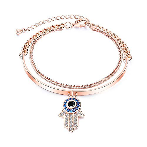 Copper Plated Ladies Bracelet Hand Of Fatima Kaballah With Evil Eye Pendant Colorful Bracelet Multi-Layer Charm Bangle Bracelet Gift For Women (Hand With Eye In The Middle Meaning)