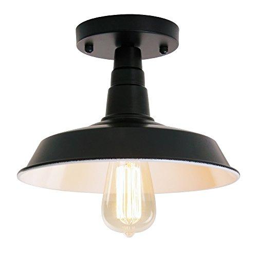 - Wereal Industrial Ceiling Light Hallway Farmhouse Semi Flush Mount Ceiling Light, E26 Base Brushed Black Finish …