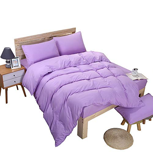 YAYIDAY Lightweight Soft Violet Duvet Cover Set King 3 Pieces (1 Comforter Cover, 2 Pillowcases)- Cotton Quality Brushed Microfiber Quilt Case Lilac Breathable Hypoallergenic Vibrant Bedding ()