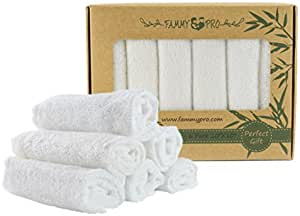 """FAMMY PRO Bamboo Baby Washcloths & Towels - Ultra Soft & Absorbent for Newborn Baby's Sensitive Skin & 100% Natural, Dye Free, Reusable Wipes Perfect Gift 10""""x10"""" (6-Pack)"""