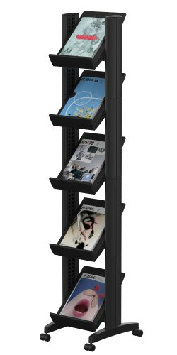 PaperFlow Single Sided Literature Display, Mobile Corner Unit, 5 Shelves, 13.78x15.17x66 Inches, Black (259N.01)