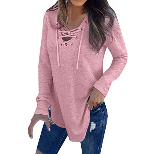 - TIFENNY Women's V Neck Strap Bow Long Sleeve T-Shirt Tops Autumn Daily Wear Casual Blouse Solid Color Pullover