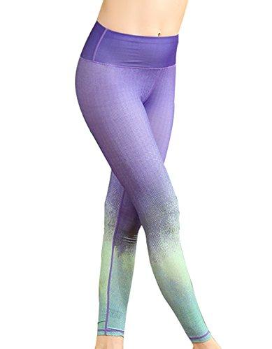 Timeiya Women's Slim Workout Full Length Yoga Pants Printed High Waist