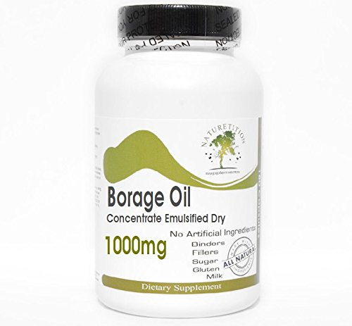 Borage Oil Concentrate Emulsified Dry 1000mg ~ 200 Capsules - No Additives ~ Naturetition Supplements by Naturetition Supplements