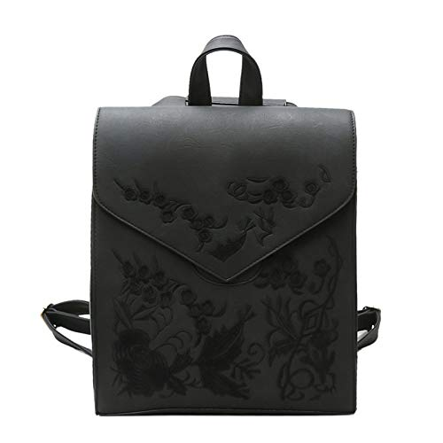 Style functional Black Fashion Bag Multi Woman Bag Style Retro Flowers Embroidery College Backpack Shoulder BOq7x0w