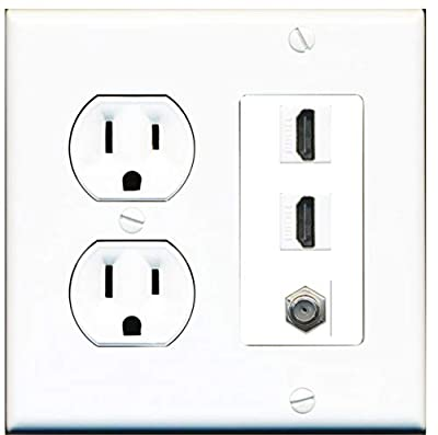15 Amp Round Power Outlet 2 Port HDMI 1 Coax Cable-TV F-Type Wall Plate White