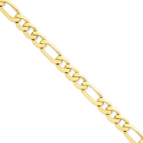 Or 14ct 8,75Mm concave ouvert Figaro chaîne de cheville-Homard Griffe-23cm