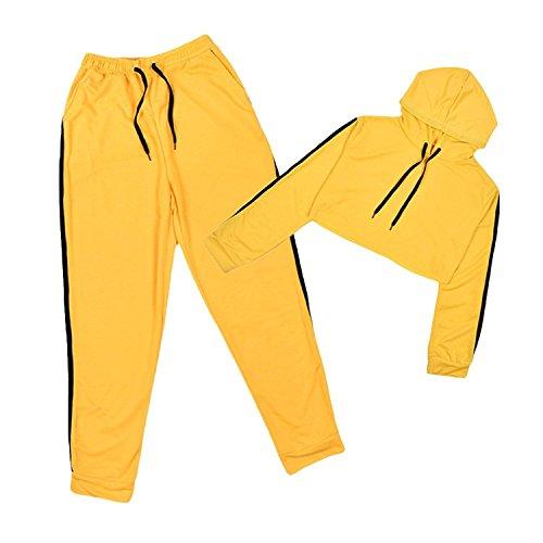 Femmes Survêtement Suit - Manche Longue Crop Pull à Capuche + Pantalon avec Cordon Casual Sports Jogging Jacket Ensemble de Sportswear 2pcs Grande Taille Jaune S-XL