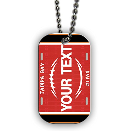 BleuReign(TM) Personalized Custom Name Football Tampa Bay License Plate Single Sided Metal Military ID Dog Tag with Beaded Chain