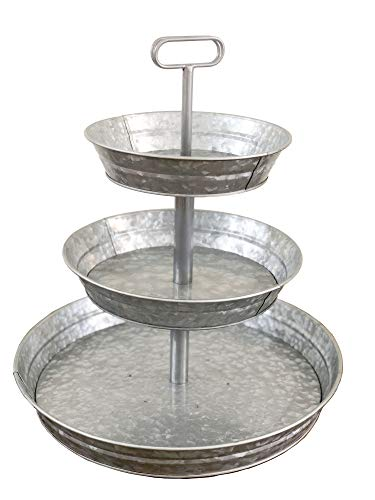 Brown Moo Decor 3 Tier Galvanized Metal Stand (Large) Twin Handle Farmhouse Style Serving Tray | Perfect for Rustic, Vintage Decoration in Kitchen and Dining Room ()