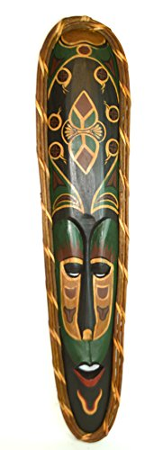 40-RED-LIPS-HANDMADE-ROYAL-BROWN-AFRICAN-STYLE-TIKI-MASK-HAWAIIAN-POLYNESIAN-WALL-ART-TRIBAL-BAR-TROPICAL