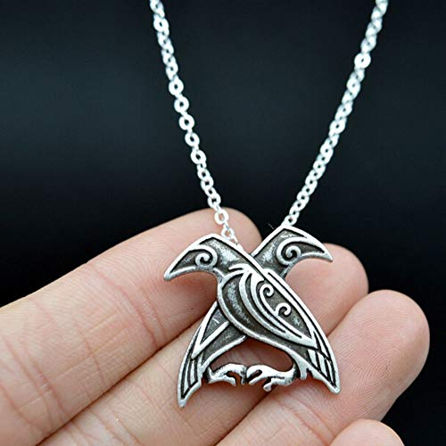 1pc Vintage Decor Carved Crow Silver Plated Ravens Pendant Necklace Vikings Odin PT0T