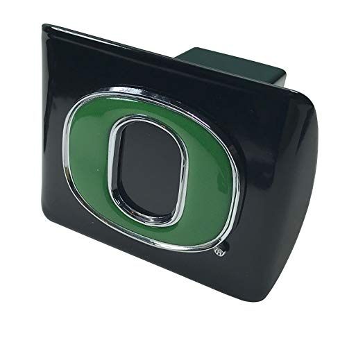 University of Oregon Ducks Metal Domed Green Emblem on Black Metal Hitch Cover