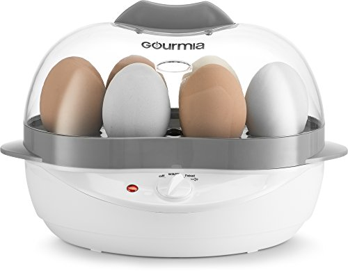 Gourmia GEC175 Electric Egg Cooker - Soft, Medium or Hard Boil - Poacher and Steamer Trays - 6 Egg Capacity - Steaming Shelf for Bread and Vegetables - Create Unique Recipes