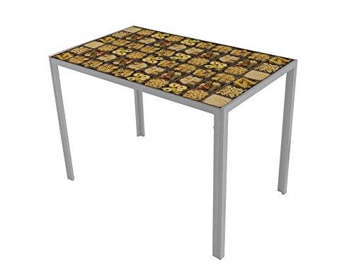 Mesa de cocina Suarez Cica, diseno Italian Pasta hecho de acero, 1 unidad, color plata, dimensiones 60 x 105 x 75 cm (H279-