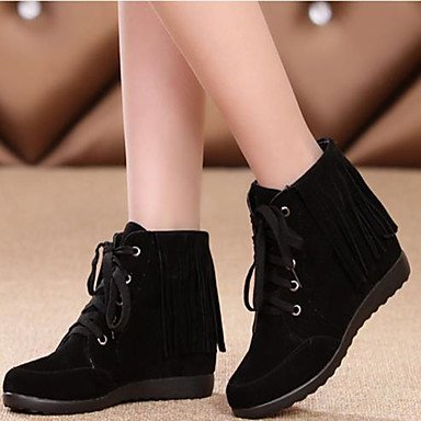 Wedge Boots Comfort Booties For Leather Ankle Toe Women's Black Wine Brown Casual Fall Boots RTRY EU39 Shoes UK6 US8 Round Real CN39 Winter Heel 7Yx08
