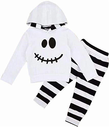 VIWORLD Baby Girls Boys Halloween Clothes Newborn Pumpkin Hoodie Tops Long Striped Pants Outfit Set (Newborn Pumpkin White Hoodie, 70(0-6 Months)