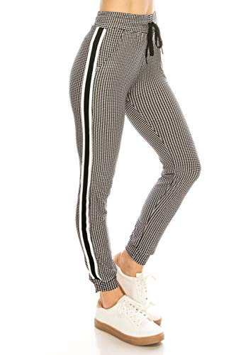 (ALWAYS Women Drawstrings Jogger Sweatpants - Super Light Skinny Fit Premium Soft Stretch Plaid Checkered Pockets Track Pants Black White L/XL)