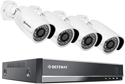 DEFEWAY 1080P 8CH Security Camera System, 8 Channel 1080P Surveillance DVR with 4pcs 2.0MP Waterproof Video Security Cameras,Hard Drive not Included