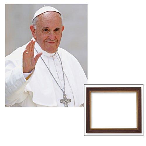 Roman Catholic Altar - Roman Catholic Gifts 10x12.5 Inches Pope Francis Woodtone Finish Frame Print Under Glass