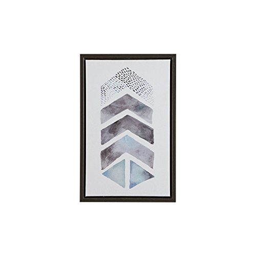 Urban Habitat This and That This and That Way Wall Art - Geometric Chevron Casual Print in Natural Wood Frame Modern Shapes Stretched 2 Piece Set Directional Canvas, Living Room Décor, Blue/Grey (Chevron Art Print Wall)