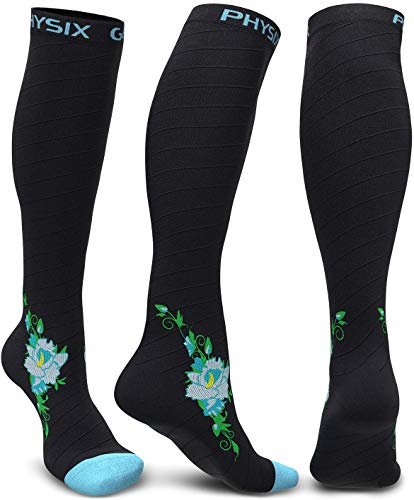 Physix Gear Compression Socks for Men & Women 20-30 mmHg, Best Graduated Athletic Fit for Running Nurses Shin Splints Flight Travel & Maternity Pregnancy - Boost Stamina Circulation - Blue Flower S-M