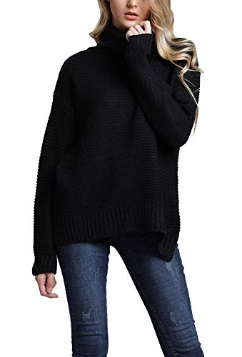 (Annystore Women's Turtleneck Sweater - Plain Knitted Baggy Cashmere Chunky Sweater Pullover Black S)
