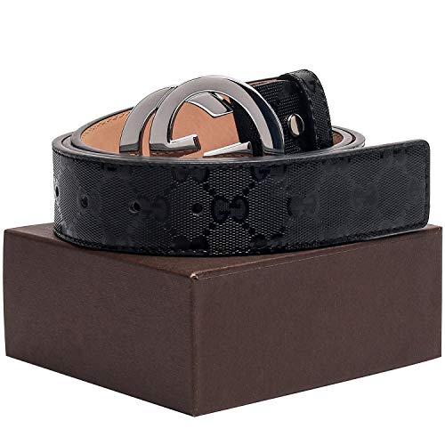 - Gold/Silver/Black Buckle Black Leather Unisex Fashion Belt for Mens Pants Jeans Shorts ~ 3.8cm Belt Width