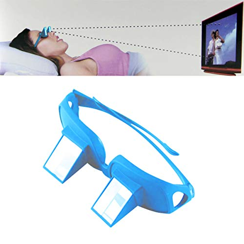 Bed Prism Glasses Light Weight Horizontal Lazy Readers Spectacles Laying Down for Reading/Watching TV, Myopia/Presbyopia Usable (2 Pack, Blue)