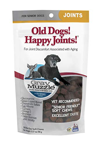 Gray Muzzle Ark Naturals Old Dogs! Happy Joints! Dog Chews, For Senior Dogs, Alleviates joint discomfort from aging, Natural Ingredients, Mess Free, 90 Count by Gray Muzzle