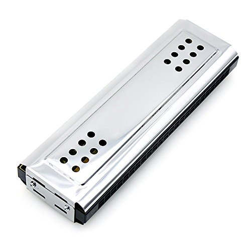 Andoer 2-in-1 Tremolo Harmonica Mouth Organ Dural Key of C&G 24 Double Holes with 48 Reeds Free Reed Wind Instrument with Padded Box Cleaning (Four Organ)