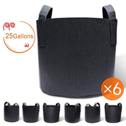 25g Bag - Gardzen 6-Pack 25 Gallon Grow Bags, Aeration Fabric Pots with Handles