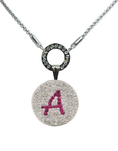 A in Pink- Crystal Initial Ball Marker with Magnetic Ball Marker Necklace