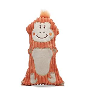 Outward Hound Kyjen 32052 Bottle Buddies Monkey Squeaker Dog Plush Chew Toys, Large, Orange