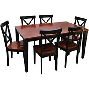 Cross back 7 piece dining room table and for Kitchen table set 7 piece