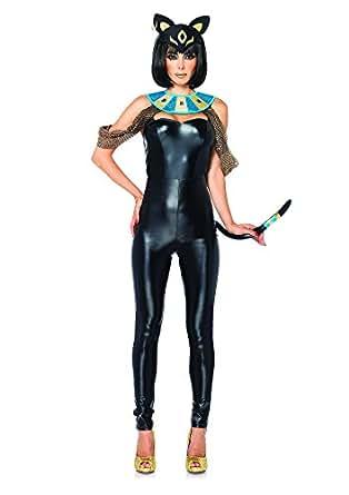 Leg Avenue Women's 3 Piece Egyptian Cat Goddess Costume, Black, Small