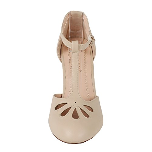 Chase & Chloe KIMMY-36 Women's T-Strap Mid Heel Dress Pumps Nude 9 B(M) US