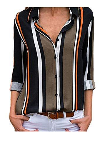 Moda Cime Camicetta Semplice Donna Firally top Con Maniche Bottoni Casual Nero A Righe Lunghe Da top UgUqPwxdB