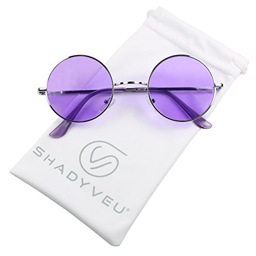 ShadyVEU - Retro Colorful Tint Lennon Style Round Groovy Hippie Wire Sunglasses (Purple Lens, 50) (Purple Sunglasses)