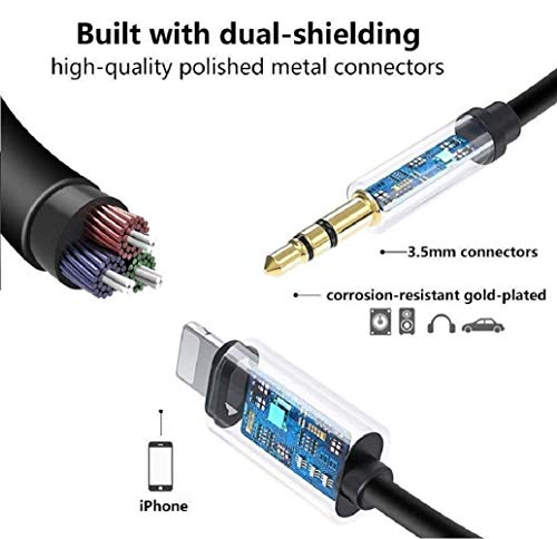 DESOFICON Aux Cord for iPhone,Apple MFi Certified Lightning to 3.5 mm Jack Aux Audio Cord Adapter Compatible with iPhone 12/11/XS/XR/X/8Plus/8/7 for Car/Headphones/Speaker/Home Stereo Support iOS 14