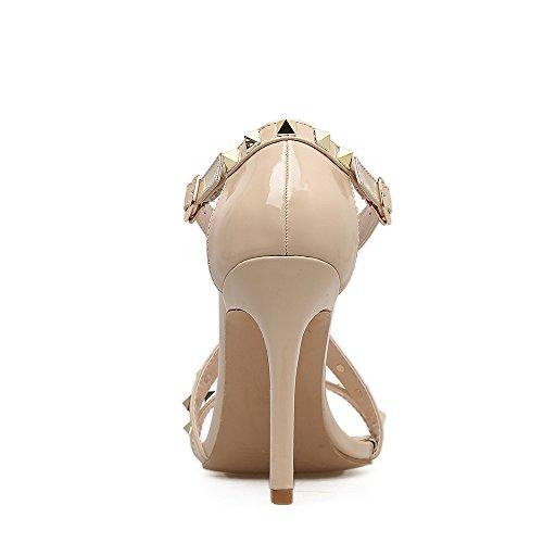 rivetto scatto alti sandali Fine a nuova con tacchi apricot con ad estivi con alta tacco scarpe alto pesce di tacco sandali sandali i bocca ZHZNVX scanalata SpzPqIS